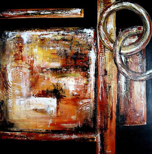 147 Verkaufte Bilder abstrakt - Ringe gemalt - gold silber