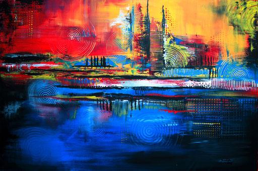 183 Verkaufte Bilder abstrakt - Symbiose gemalt - rot blau gelb