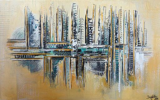 267 - Abstrakte Gemälde Verkauft- Petrol Ocker