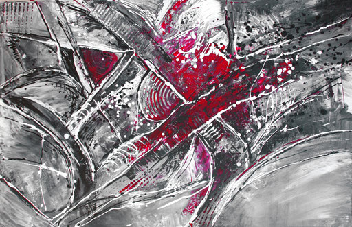 215 Verkaufte abstrakte Malerei - Wilde Malerei grau rot