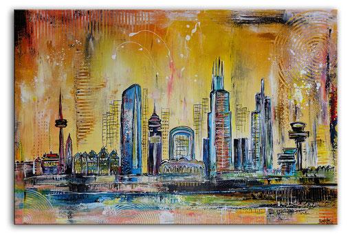 S 43 - Frankfurt Skyline Malerei Stadtbild Stadt Gemälde