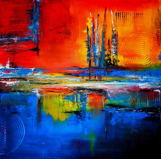 172 Verkaufte Bilder abstrakt - Skyline Bunt blau gelb rot