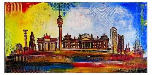 S 58 - Berlin skyline stadtbild handgemalt abstrakt 100x50
