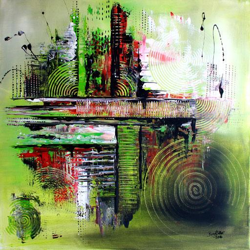 40 Kunst Unikat abstrakt - Dschungel - grün rot grau