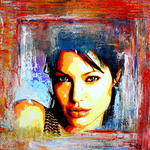 P 56 - Künstler Portrait Gesichter Gemalt - Angelina Jolie 1