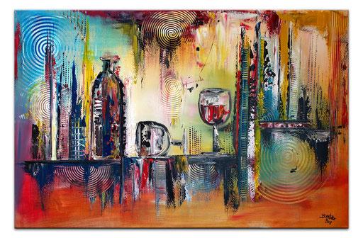253 Verkaufte abstrakte Malerei Wein Flasche Gläser