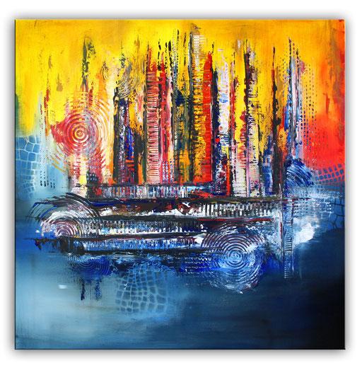 242 Verkaufte abstrakte Malerei gelb blau quadratisch
