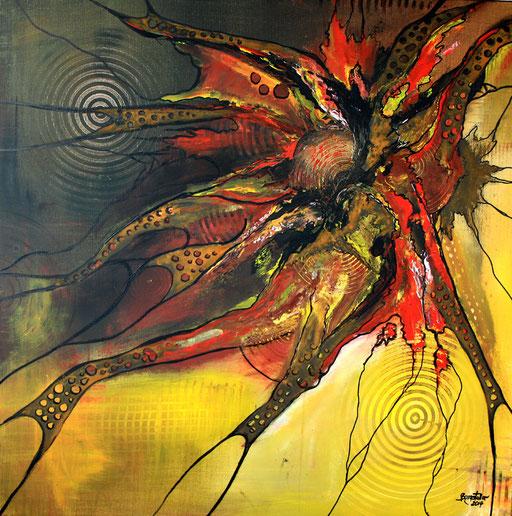149 Verkaufte Bilder abstrakt - Rost gemalt - braun rot gelb