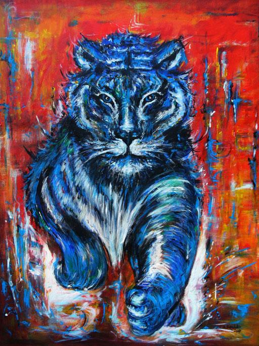 T 25 - Tierbilder Malerei Tiere - Tiger Sprung