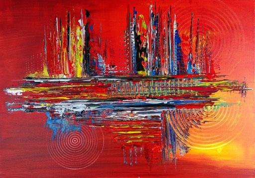 53 abstraktes Unikat handgefertigt - Feuer - blau rot gelb