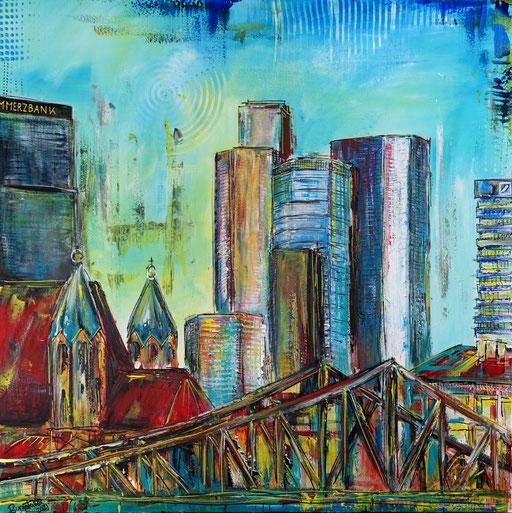 S 86 - Malerei Bild Wandbild Frankfurt alte Skyline abstrakt