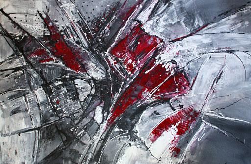 216 Verkaufte abstrakte Malerei - Wilde Malerei rot grau