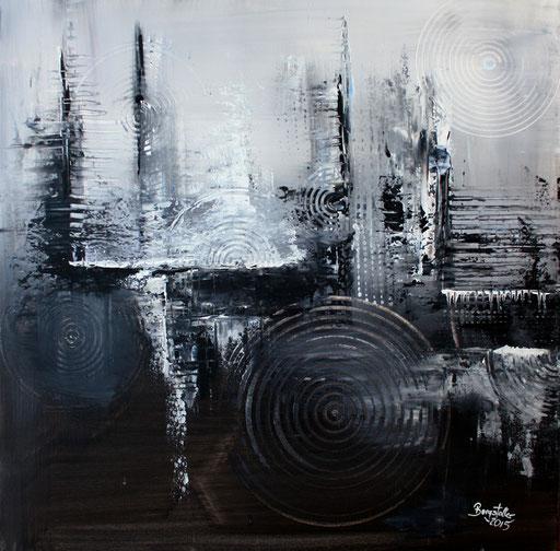 125 Verkaufte abstrakte Bilder - Mystische Malerei - grau schwarz