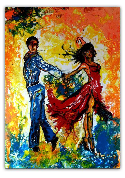 S 72 Mambo Tänzer Tanzpaar abstrakt gemalt