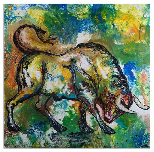 T42 Wilder Stier Bulle grün moderne Tierbilder Malerei