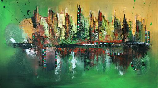 79 abstraktes Unikat handgefertigt - Green Skyline - rot gelb grün braun