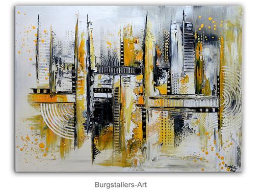 286 - Abstrakte Gemälde Verkauft - gelb grau 80x120