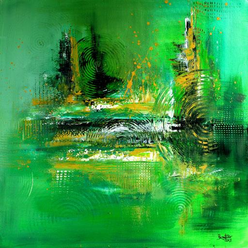 39 Kunst Unikat abstrakt - Dreamland - grün gelb grau