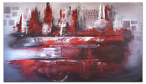 65 abstraktes Unikat handgefertigt - Galonska 2 - rot silber grau
