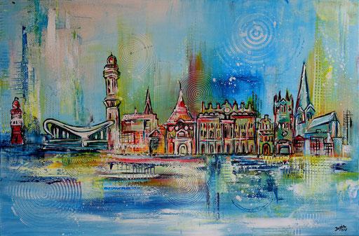 S 70 - Malerei Bild Wandbild Rostock Skyline abstrakt