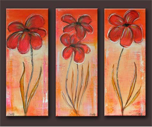 B 42 - Blumen Malerei Blumengemälde handgemalt Sonnenhüte dreiteilig