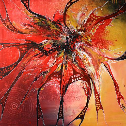 133 Verkaufte abstrakte Bilder - Network gemalt - gelb rot orange