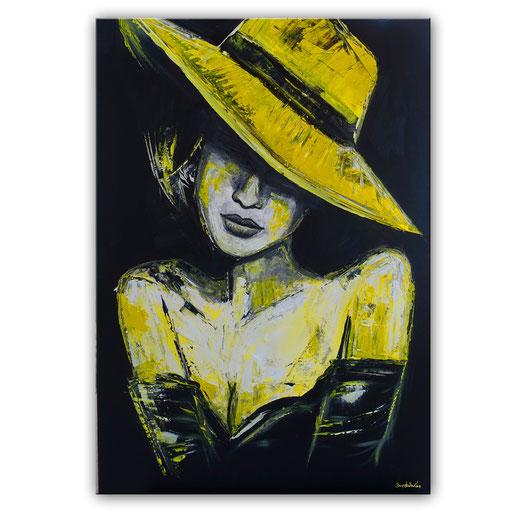 P 66 - Porträt Gesichter Malerei - Frau mit gelbem Hut 3