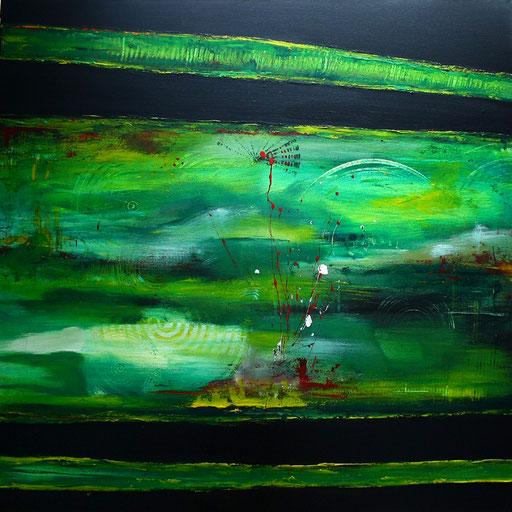 41 Kunst Unikat abstrakt - Dschungel - grün schwarz grau