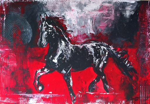 T 12 - Tierbilder Malerei Tiere - Pferd Hengst grau rot