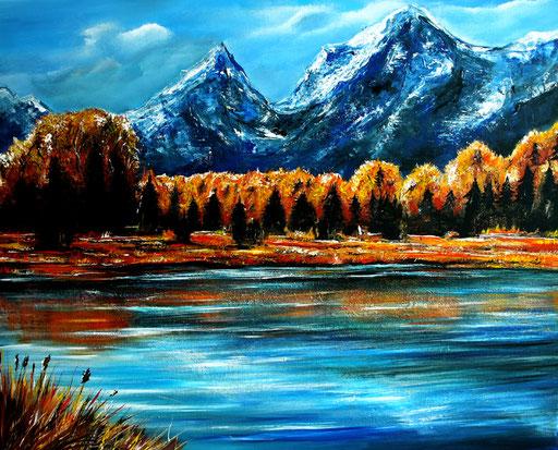 L 2 - Landschaftsbilder Gemälde - Berge See