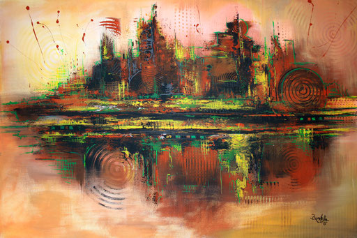 36 Kunst Unikat abstrakt - Disco City - braun gelb rot