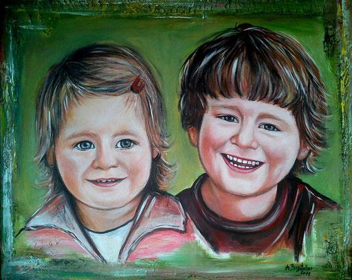 Portraitmalerei - Portrait Maler - Portraitbilder - Portraits - Acrylgemälde - Kinder