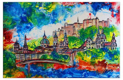 S 81 - Malerei Bild Wandbild Salzburg Skyline Festung abstrakt