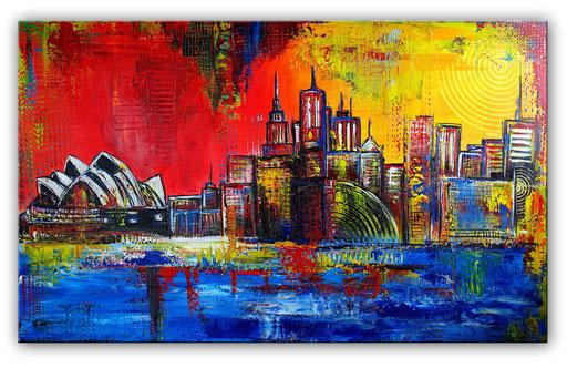 S 57 - Sydney skyline stadtbild handgemalt 120x80
