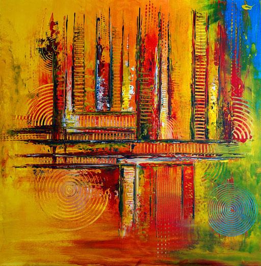 250 Verkaufte abstrakte Malerei orange gelb blau quadratisch
