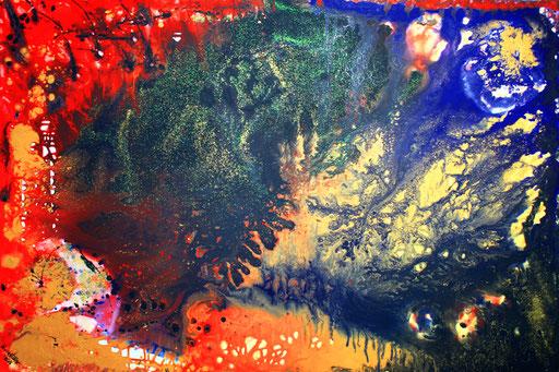 105 Verkaufte abstrakte Bilder - Kontinente - blau gelb rot