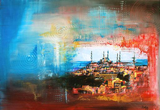 S 38 - Stadtbilder auf Leinwand - Istanbul Blaue Moschee