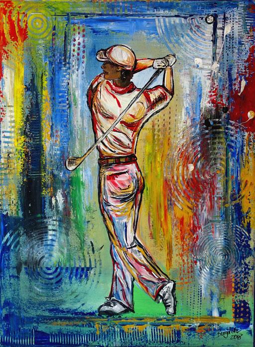 S 61- Golfgemälde Golfer Gemälde - Golfspieler Abschlag