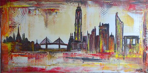S 71 - Malerei Bild Wandbild Hamburg Skyline abstrakt