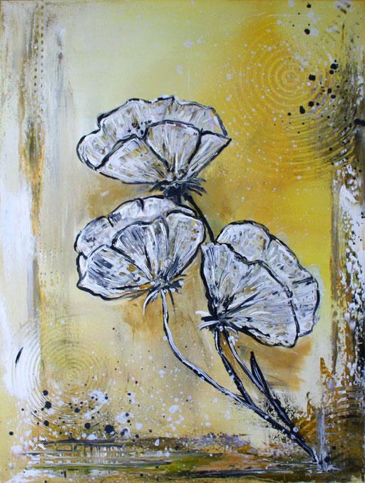 B 41 - handgemalte Blumenbilder Blumen Gemälde Mohnlbumen weiß gold