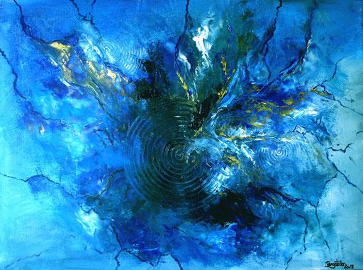 22 Handgemaltes Unikat abstrakt - Blue Ozean - blau grau silber