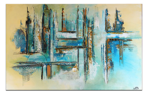 321 - Abstrakte Skyline Türkis Eisblau ocker 116x81