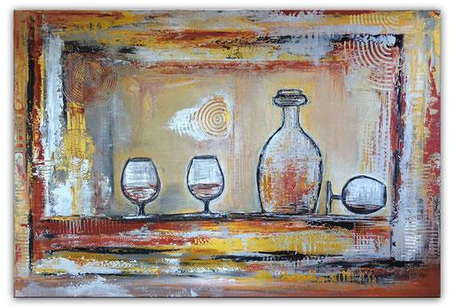 306 - Cognac Karaffe Gläser abstraktes Gemälde 116x81