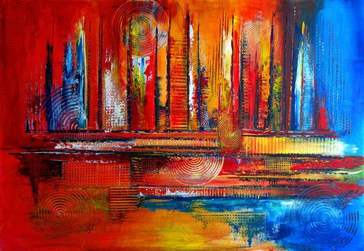 251 Verkaufte abstrakte Malerei rot blau querformat