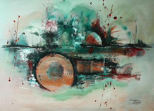 211 Verkaufte abstrakte Malerei - Waldrodung handgemalt - grün grau rot