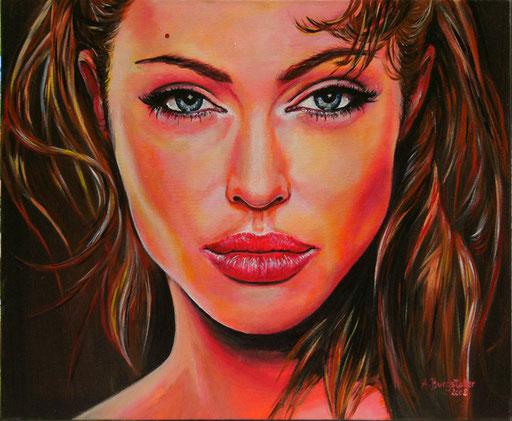 P 57 - Künstler Portrait Gesichter Gemalt - Angelina Jolie 2