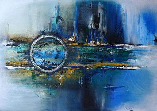 218 Verkaufte abstrakte Malerei - Wirbelsturm blau gelb ocker