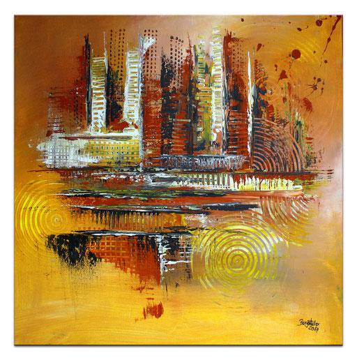 222 Verkaufte abstrakte Malerei - Weltraumbummel rot orange blau