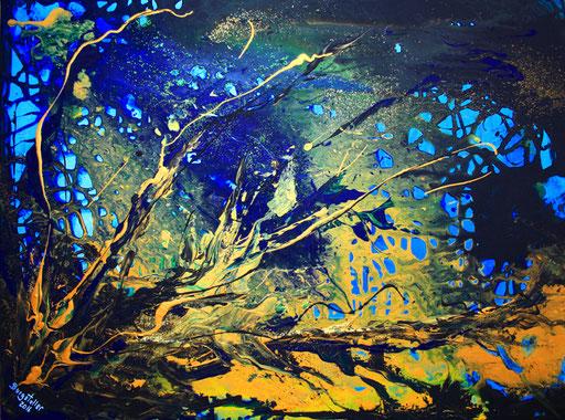 106 Verkaufte abstrakte Bilder - Korallan - gelb blau