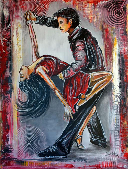 F 80 - Salsa Tänzer handgemalt Tanzpaar Tänzer Gemälde